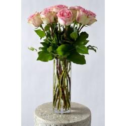 Bouquet de 12 roses roses