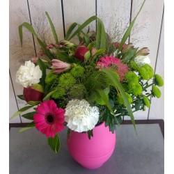 Bouquet oeillet, gerbera, fleurs variées