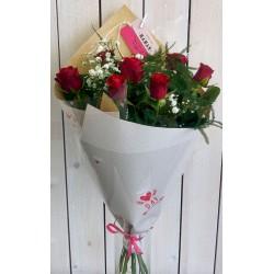 Bouquet 7 roses rouges (petit bouton)