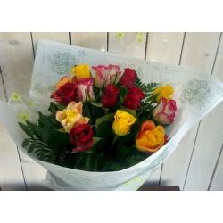 bouquet de 15 roses variées