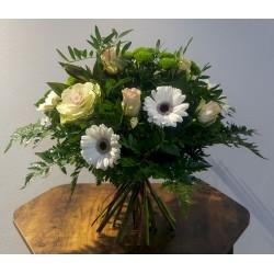 Bouquet rond blanc-rose